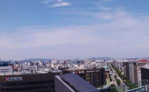 JR博多シティ屋上の展望テラスからの福岡市内の景色