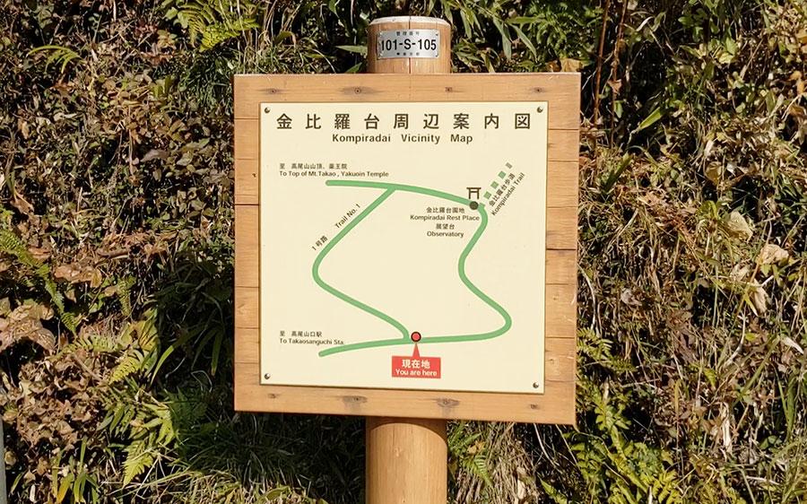 高尾山1号路の金比羅台周辺案内図