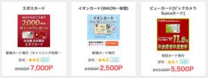 ポイントサイトに掲載されている企業広告の例(クレジットカード)