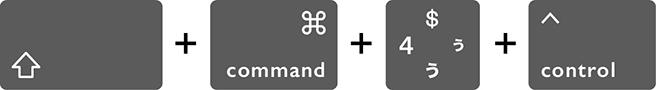 選択範囲の一部の画面をスクリーンショットでクリップボードにコピーするMacのショートカットキー